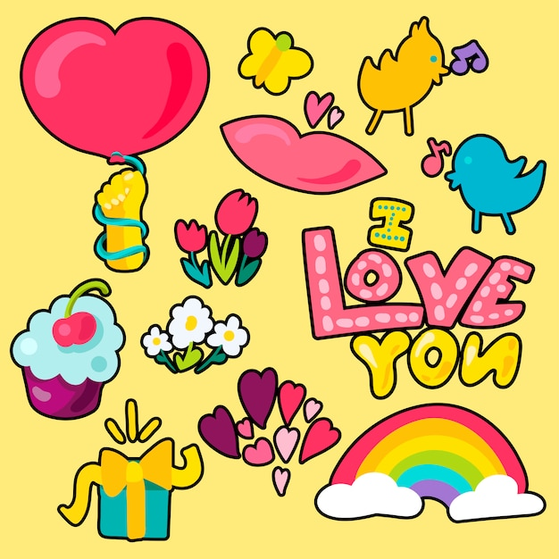 Vector romantische liefde patches set in doodle stijl met vorm Premium Vector