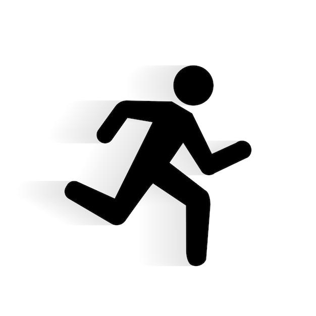 Vector running human icon silhouet met schaduw geïsoleerd op wit Gratis Vector
