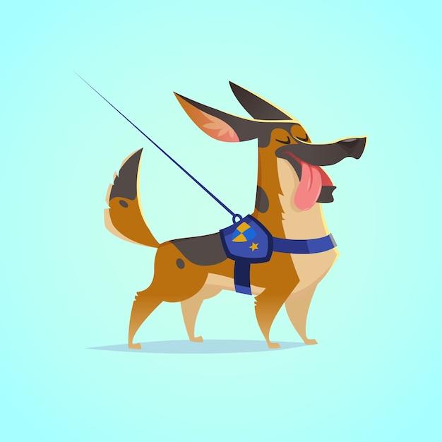 Vector schattige hond karakter illustratie. cartoon stijl. gelukkig duitse herder pup met tong uit. pet. Premium Vector