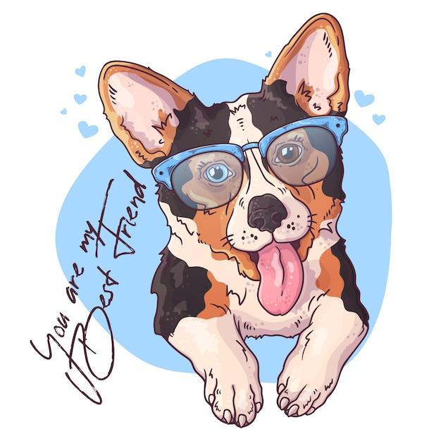 Vector schetsen illustraties. portret van een schattige corgi hond. Premium Vector
