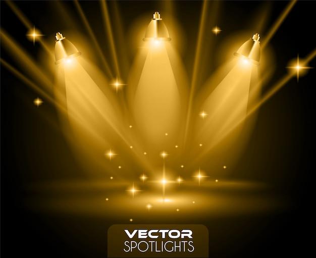 Vector schijnwerpersscène met verschillende lichtbron die naar de vloer wijst Premium Vector