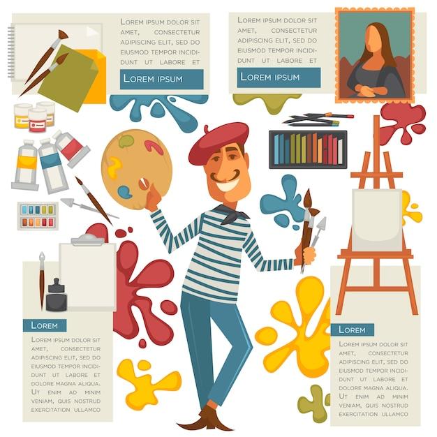 Vector schilderhulpmiddelen en kunstenaar. Premium Vector