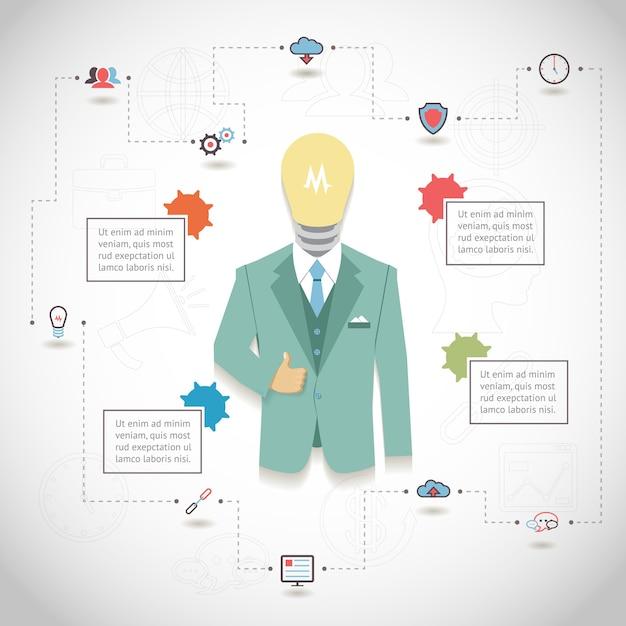 Vector seo infographic met man in pak met gloeilampkop en tekstblokken Gratis Vector