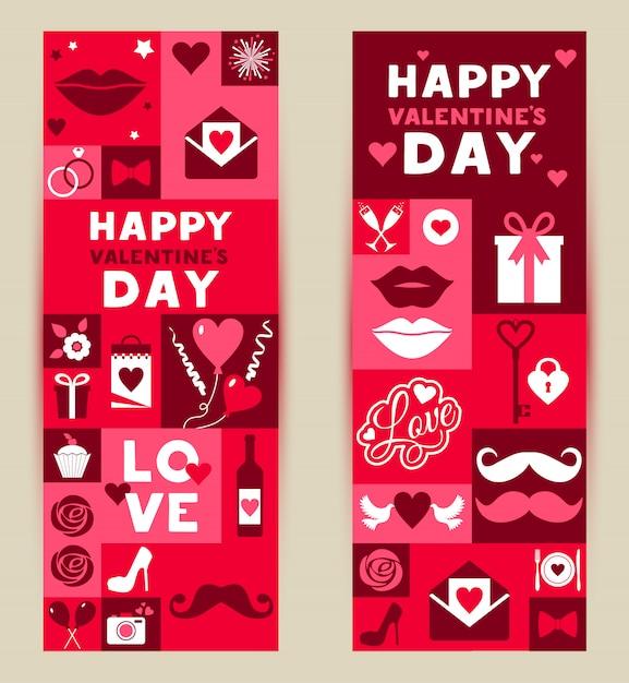 Vector set banners van valentijnsdag Premium Vector