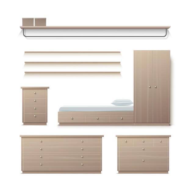 Vector set beige kledingkast, kast, nachtkastje, kledingstandaard, rek en kussen vooraanzicht geïsoleerd op de achtergrond Gratis Vector