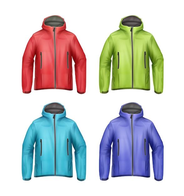 Vector set blauwe, groene, rode, turquoise softshell unisex sportjassen met vooraanzicht van de kap geïsoleerd op een witte achtergrond Gratis Vector