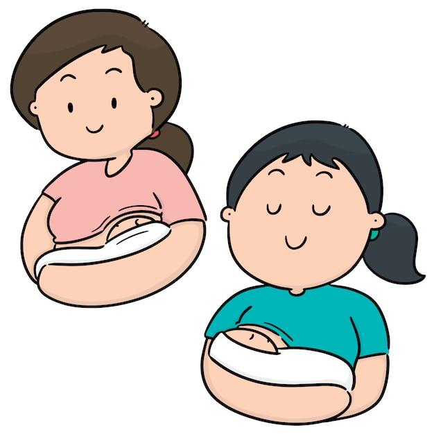 Vector set borstvoeding moeder en baby Premium Vector