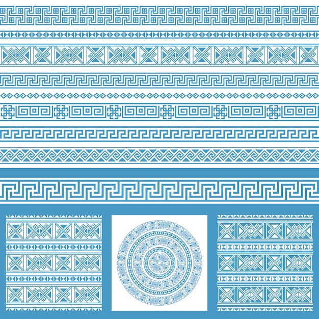 Vector set collecties van etnische griekenland ontwerpelementen. blauwe en witte sier naadloze patronen en randen in één megapak. Premium Vector