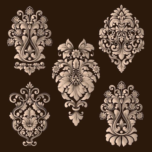 Vector set damast decoratieve elementen Gratis Vector