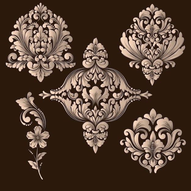 Vector set damast decoratieve elementen Gratis Vector