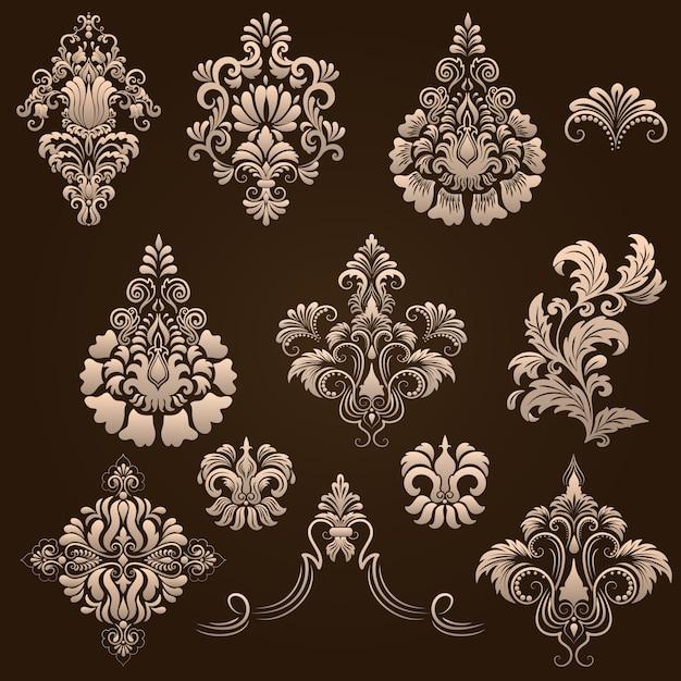 Vector set damast sierelementen. elegante bloemen abstracte elementen voor ontwerp. perfect voor uitnodigingen, kaarten, enz. Gratis Vector