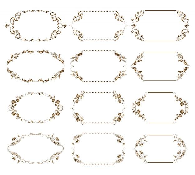 Vector set decoratieve sierlijke frames Premium Vector