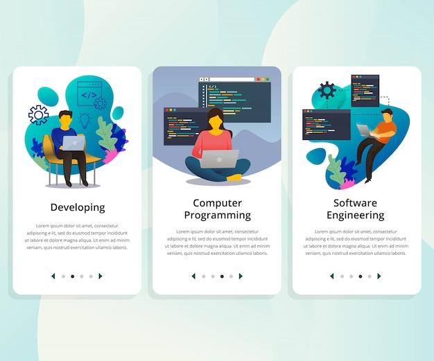 Vector set gebruikersinterfacekit voor programmeren Premium Vector