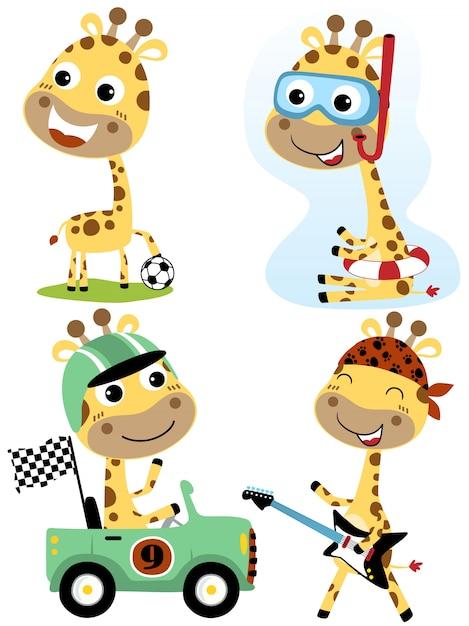 Vector set giraffe cartoon met verschillende beroep Premium Vector