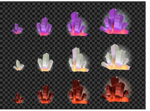 Vector set glazen kristallen Premium Vector