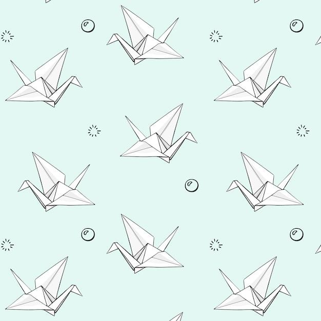 Vector set hand getrokken origami patroon Premium Vector