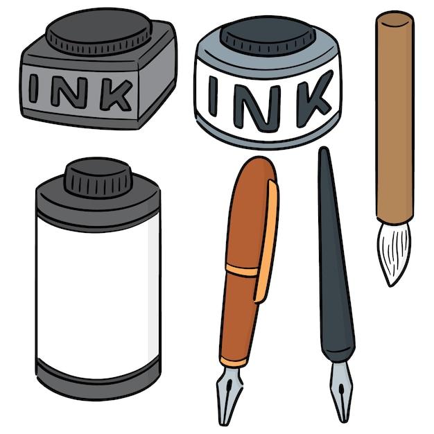 Vector set inkt, penseel en vulpen Premium Vector