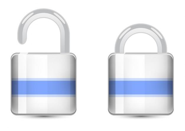 Vector set kleur iconen. padlock icoon Gratis Vector