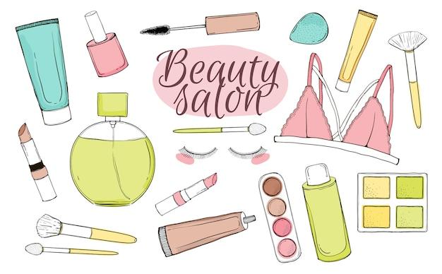 Vector set met cosmetica. hand tekenen illustratie. geïsoleerde objecten op witte achtergrond. Premium Vector