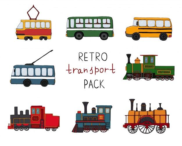 Vector set met retro motoren en openbaar vervoer. Premium Vector