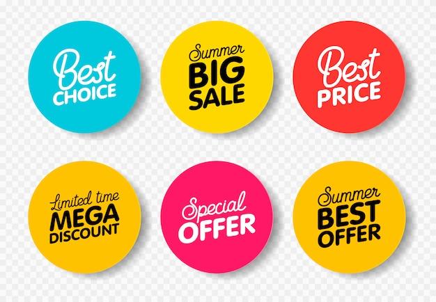 Vector set moderne kleurrijke etiketten voor groeten en promotie. Premium Vector