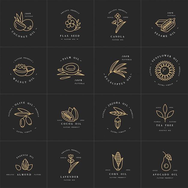 Vector set ontwerpsjablonen en emblemen - gezonde en cosmetische oliën. verschillende natuurlijke, organische oliën. Premium Vector