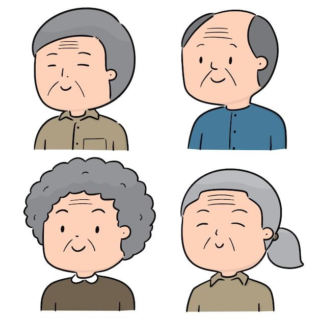 Vector set oudere mensen Premium Vector