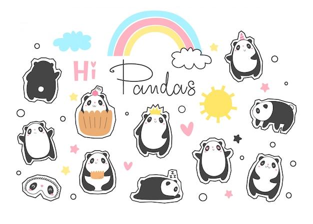 Vector set panda stickers Premium Vector