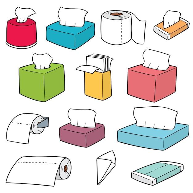 Vector set papieren zakdoekjes Premium Vector