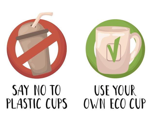 Vector set - plastic afval en afval of vuilnis, geen afval concept Premium Vector