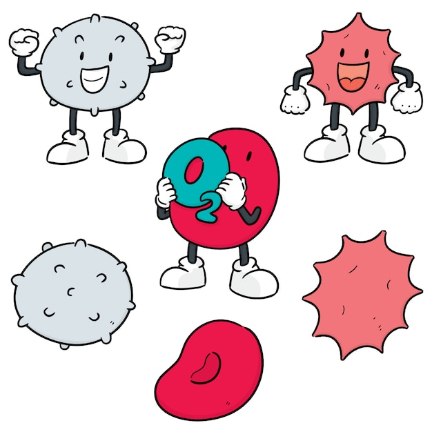 Vector set van bloedcellen Premium Vector