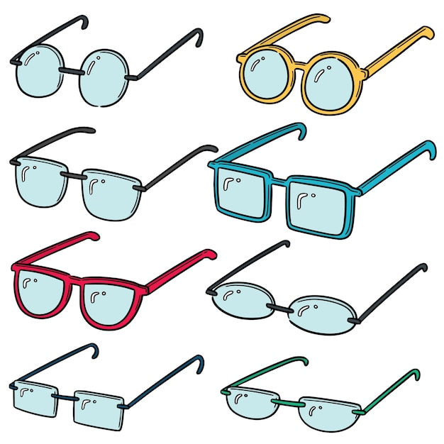 Vector set van brillen Premium Vector