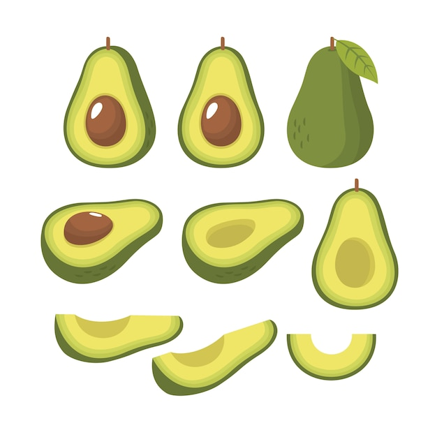 Vector set van de helft plak en geheel van verse avocado Premium Vector