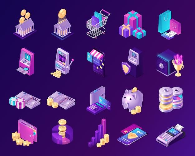 Vector set van economische iconen van krediet, betaling, valuta en investeringen Gratis Vector