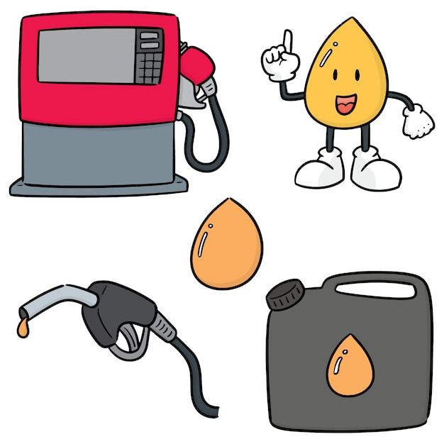 Vector set van gas en brandstof Premium Vector