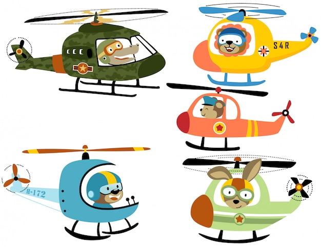 Vector set van helikopter cartoon met schattige piloot Premium Vector