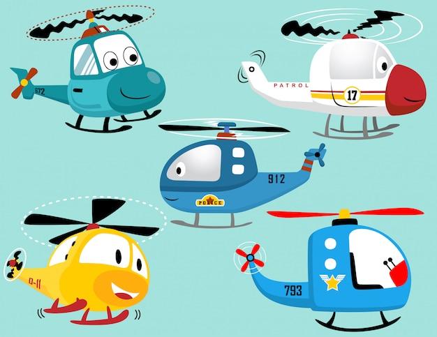 Vector set van lachende helikopters cartoon Premium Vector