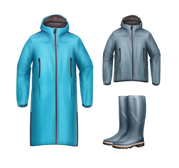 Vector set van lange, korte blauwe, grijze unisex sportjassen met capuchon en rubberen laarzen vooraanzicht geïsoleerd op een witte achtergrond Gratis Vector