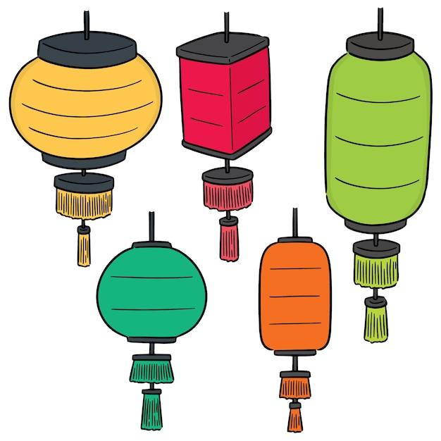 Vector set van lantaarn Premium Vector