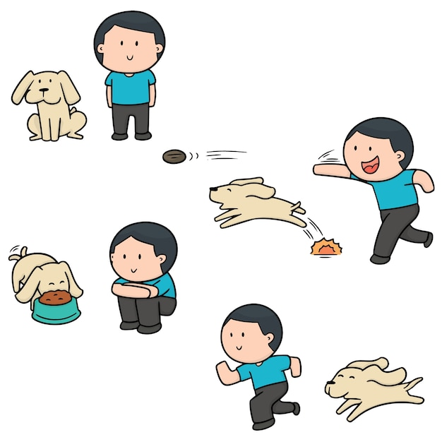 Vector set van man en hond Premium Vector