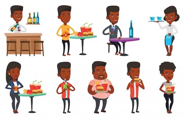 Vector set van mensen eten en drinken. Premium Vector