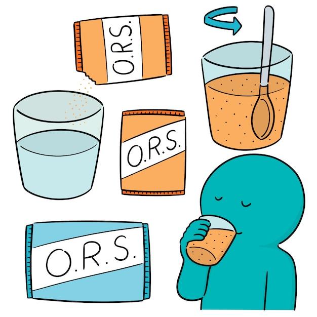 Vector set van orale rehydratie zout Premium Vector