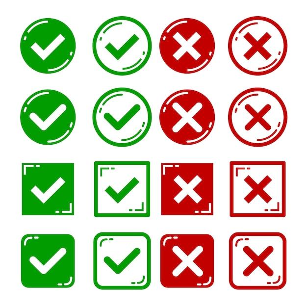 Vector set van platte ontwerp juiste en verkeerde pictogrammen. Premium Vector