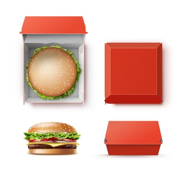 Vector set van realistische lege lege rode kartonnen pakket doos container voor branding met hamburger klassieke hamburger amerikaanse cheeseburger close-up bovenaanzicht geïsoleerd op een witte achtergrond. fast food Premium Vector
