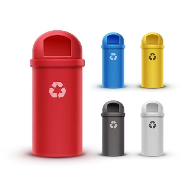 Vector set van rode, gele, blauwe, witte, zwarte prullenbakken voor het sorteren van afval Gratis Vector