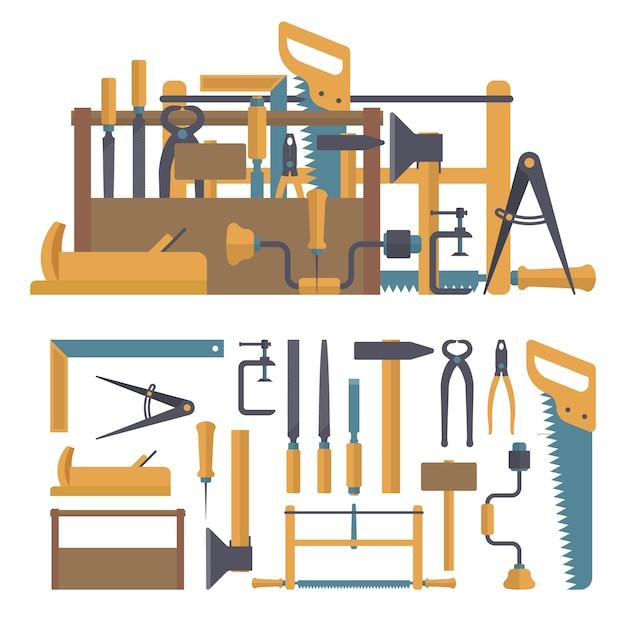 Vector set van timmerman tools en instrumenten in vlakke stijl. reparatiehulpmiddelen voor woningbouw. Premium Vector