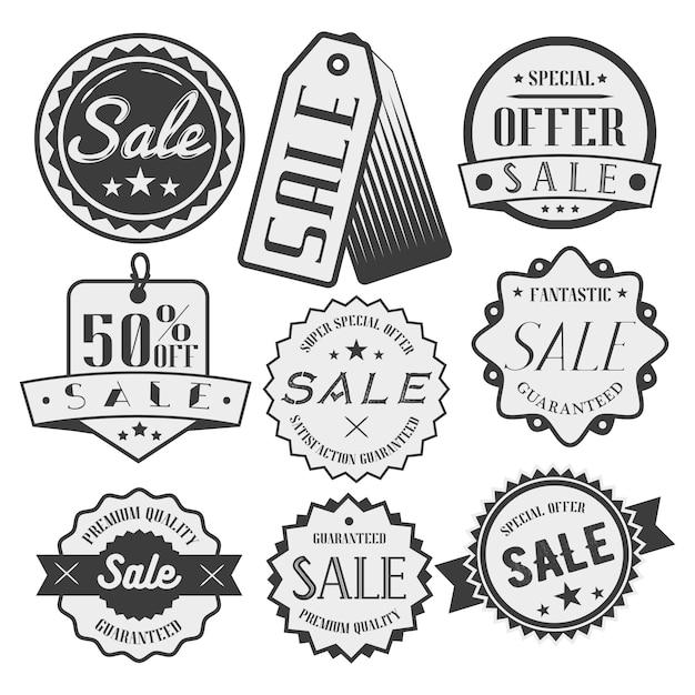 Vector set van verkoop en korting labels Premium Vector