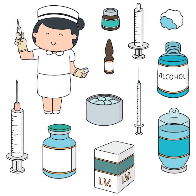 Vector set van verpleegkundige en injectie geneeskunde Premium Vector