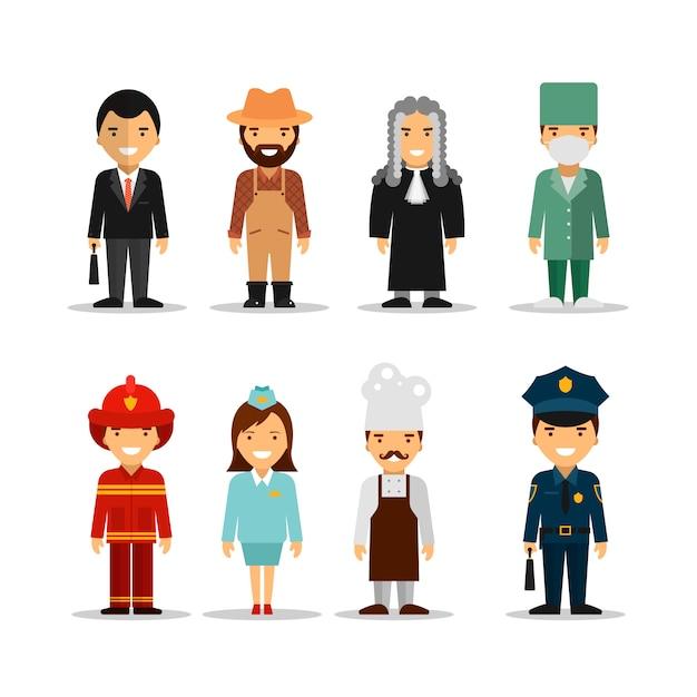 Vector set van verschillende mensen beroepen tekens. Premium Vector