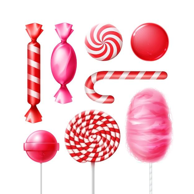 Vector set van verschillende snoepjes in roze, rood gestreepte folie wrappers, swirl lollies, xmas cane en suikerspin geïsoleerd op witte achtergrond Gratis Vector